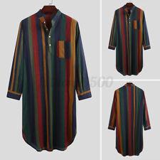 Mens Long Sleeve Nightshirt Pyjamas Casual Striped Kaftan Loungewear Robe Dress