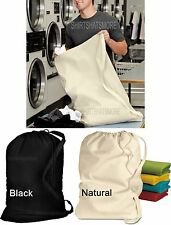 "Laundry Bag with Shoulder Strap 100% Cotton 33""X 23"" Drawcord Closure Dorm NEW"