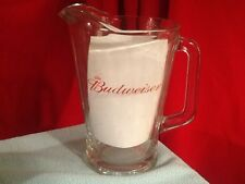 """BUDWEISER ~ HEAVY SOLID GLASS BEER PITCHER ~ 8.75"""" Tall ~ SINGLE SIDED RARE"""