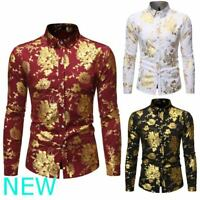 Mens Dress Shirts Luxury Floral Top Casual Slim Fit Long Sleeve Stylish Shirt