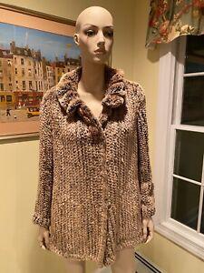 Natural Knitted Crocheted Sheared Mink Real Fur Jacket Cape Shrug Shawl Medium