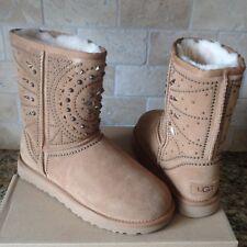 UGG FIORE Deco Studs Chestnut Suede Sheepskin Short Boots Size US 7 Womens