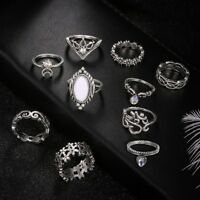 10Pcs/ Set Silver Boho Fashion Charm Gem Moon Midi Finger Knuckle Rings Gift