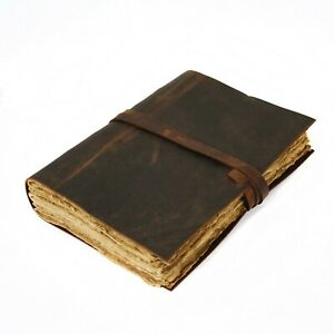 Vintage Leatherbound Journal,  Handmade Antique Deckle Edge Paper, Leather Book