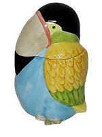 Ceramic Toucan Cookie Jar 10x8x8 Colorful, Clean Euc