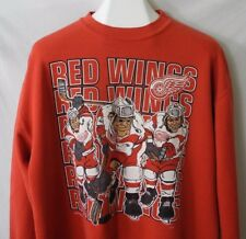 Vtg Detroit Red Wings Caricature Sweatshirt Nutmeg Adult Size Large