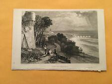 KI) Original 1834 Pont du Château France Landscape Annual Engraving