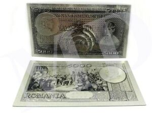 Romania - Lot of 10 banknotes polymer plated with pure silver 999 ‰