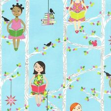 Fat Quarter Quiet Time Girls in Tree Reading Book Quilting Fabric Michael Miller