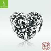 S925 Sterling Silver Charm Bead Rose's Heart For Stylish Women Bracelet Jewelry