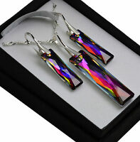 925 Silver Earrings/Necklace/Set VOLCANO Queen BaguetteCrystals from Swarovski®