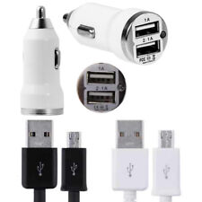 1M 2M 3M Micro USB Cable + Dual USB Car Charger fits HTC One M7 M8 M9 A9 Desire