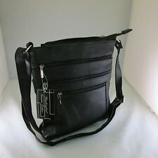 Leather  Messenger Crosbody  Computer Tablet Handbag Black Purse Cowhide