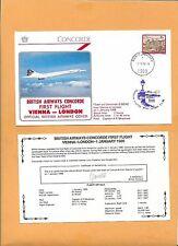 CONCORDE SST BRITISH AIRWAYS FIRST FLIGHT VIENNA-LONDON JAN 1986  FLOWN ON