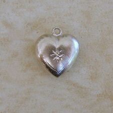 Wells Top Hat Puffy Heart With Star Sterling Silver Bracelet Charm Love