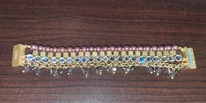 Silpada K&R Gold Tone Magnetic Clasp Bracelet Brass Swarovski Crystal Glass Pear
