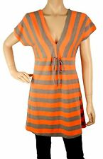 AQ110 short sleeves low V neck top - grey and orange