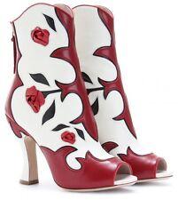 Miu Miu RUNWAY Leather Roses Applique Peep-Toe Boots  Size 41 U.S 11 NIB