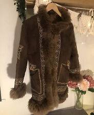 Vintage Suede Sheepskin Fur Afghan Coat Jacket M 10