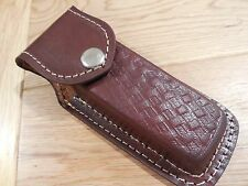 Hand made brown leather knife sheath - case - multi tool. Plain - SECONDS