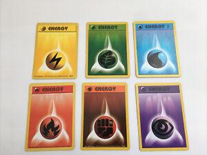 Pokemon1st Edition Energy Set 1999 Base Set Light Played  6 x Cards