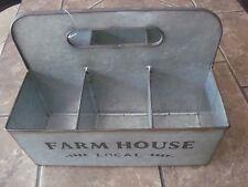 FarmHouse Galvanized Metal Basket Compartments Utensils Box Rustic Decor Basket