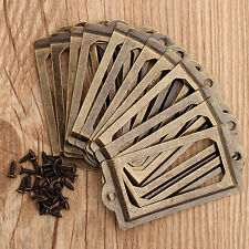 12PCS Antique Brass Cabinet Drawer Label Pull File Name Card Holder Frame Handle