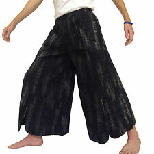 Hippy Hippie Boho Festival Flared Wide Leg Baggy Casual Pants Trousers - BLACK