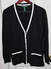 Lauren Ralph Lauren Women's Cardigan Sweater Cotton, Sik, Cashmere Blend Black L