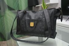 MCM Logos Pattern Shoulder Tote Bag Black Coated Canvas Germany AUTH