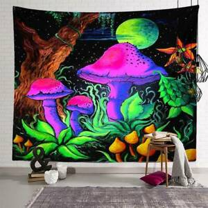 Psychedelic Mushroom Tapestry Wall Hanging Bedspread Trippy Art Decor Home Cover
