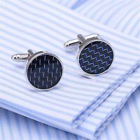 Luxury Round Blue Crystal Engraved Cufflinks Silver Cuff Link Mens Wedding Gift