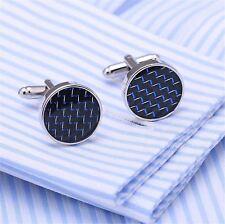 Luxury Round Blue Crystal Engraved Cufflinks Silver Cuff Link Mens Wedding Gift