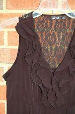 Apt. 9 Black Cocktail Dress Slinky Knit SMALL Ruffle Neckline Lace Back EX COND