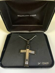 """Stainless Steel Cross Necklace For Men 24"""""""