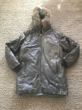 Pre-Owned Gray leather parka coat mens large 3/4 length