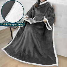 Fleece Snuggie Blanket with Sleeves and Front Pocket Robe Wearable TV Blanket