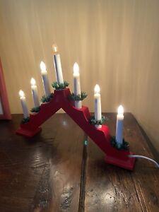Bougeoir Chandelier Bois Électrique Lumineux Lampes Noël Traditionnel Vintage