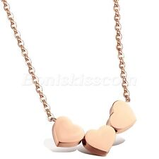 Rose Gold Tone Women's Steel Wedding Party 3 Hearts Pendant Necklace Charm Gift