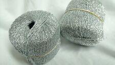 5 ovillos hilo lúrex puro color plata / Hecho en francia