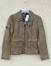 Superdry Warbird Leather Jacket Distressed Green Size-Large NWT/$600