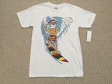 Quiksilver Big Man Surfin Beach Shirt Santa White Rasta Surfboard Wave SZ Small