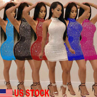 US Sexy Women Bodycon Sleeveless Evening Party Cocktail Glitter Short Mini Dress