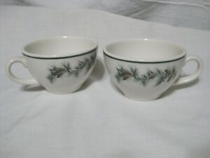 Pair Syracuse China Pine Cone Pinecone Pattern Coffee Tea Cups Green Trim