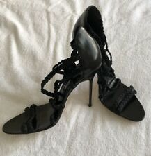 New Manolo Blahnik Black/stretchy High Heel Pump Sandals Size 39.5