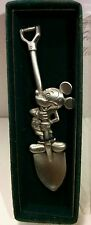 "Walt Disney Pewter Mickey Mouse On Shovel Collectible 4"" Inch Souvenir Spoon!"