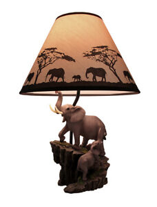Elephant and Baby on Expedition Sculptural Table Lamp with Decorative Shade