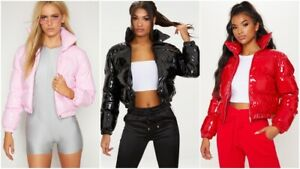 Women Shiny Wet Look Vinyl Thick Puffer Padded Quilted Cropped Short Jacket Coat