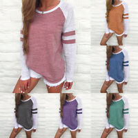 Fashion Women Ladies Long Sleeve Splice Blouse Tops Clothes O-Neck T Shirt UK