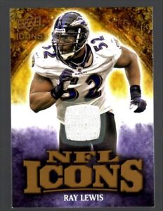 Ray Lewis RAVENS 2009 Upper Deck NFL ICONS GAME-WORN JERSEY #d 116/299